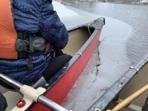 最後のカヌーだったので、プチ流氷船体験