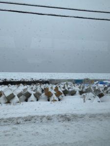 野付半島に向かう途中で、流氷を発見