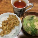 味噌汁(かぶ・油揚げ)2杯102kcal・納豆ご飯409kcal