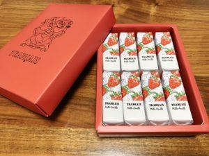 ひとつひとつの個包装も可愛いです。やっぱりいちごのモチーフで、鮮やかな赤が目を引きます。