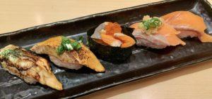 ご褒美に昼兼夜ご飯に回転寿司へ。