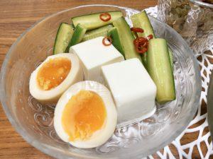 ポリポリきゅうりのにんにくじょうゆ漬け、ラーメン屋さんのとろ〜り半熟煮卵