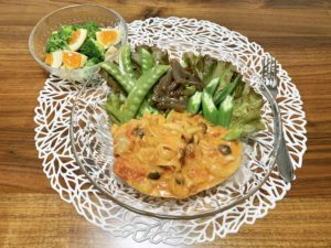 夜ご飯はまたレシピ本「Yuuのラクうま ベストレシピ」を使用。チキンのトマトクリーム煮が簡単で美味しかったです。