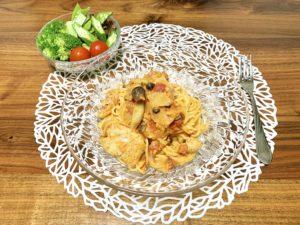 「Yuuのラクうま♡ベストレシピ」から選んだ「チキンの濃厚♡トマトクリーム煮」をパスタにアレンジした献立です。