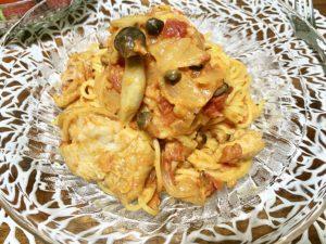チキンの濃厚♡トマトクリーム煮パスタ