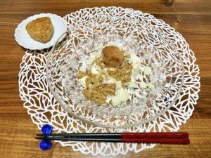 1人夜ご飯だったので簡単に。最近梅ぼし×納豆×豆腐の組み合わせにハマっています。