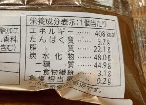 栄養成分一覧、カロリーは408kcal。
