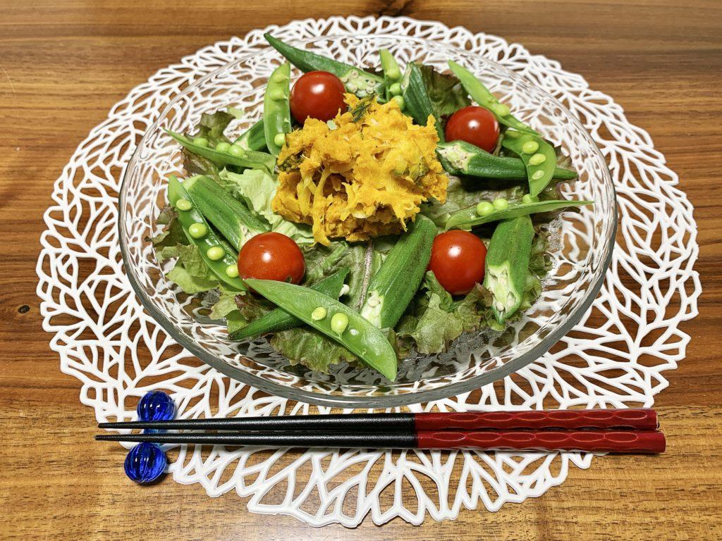 「Yuuのラクうま♡ベストレシピ」から選んだ「無限♡おつまみかぼちゃ」をメインメニューにした献立です。