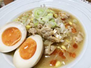 もやしのマーボー風とろみ炒め、ラーメン屋さんのとろ〜り半熟煮卵