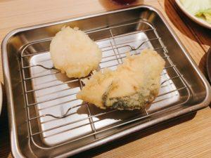ホタテとマスの天ぷら